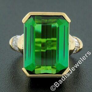 H Stern 18k Yellow Gold 9.82ct Green Tourmaline & Baguette Diamond Cocktail Ring