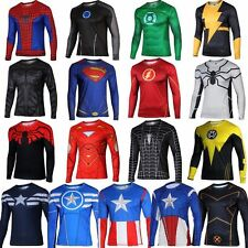 Mens Compression Tee Marvel Superhero Long Sleeve T-Shirt Gym Sports Jersey Tops