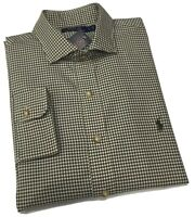 Ralph Lauren Mens twill cotton country check shirt olive/cream
