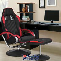 Leather Recliner Chair Racing Office Bucket Chair Living Room Footrest Ottoman