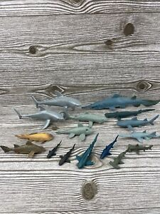 Lot Of 16 Plastic Shark Figures. Whales, Hammerheads, Great Whites. Discovery