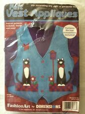 Vintage New Dimensions Felt Vest Appliques Kit 80368 Cat Watch - Sew-On/Iron-On
