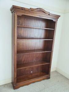 Large colonial wood bookcase/shelving as new, mid brown colour stained pine