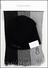 Calvin Klein Mens Reversible Hat Beanie Scarf Set Black Gray One Size NWT