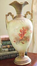 """ANTIQUE ART NOUVEAU GREEN PORCELAIN URN HANDLES VASE 17"""" H POPPY FLOWERS EAGLE"""
