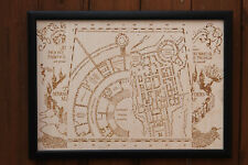 Wooden Marauders Map - Laser Engraved Hogwarts Map Harry Potter Map