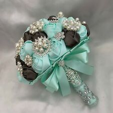 Brides Brooch Bouquet, Mint Green, Grey, Satin Roses, Artificial Wedding Flowers