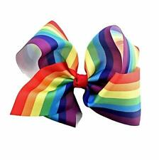 RAINBOW HAIR BOW CLIP ON ACCESSORY GAY PRIDE GIRLS PIGTAIL PONYTAIL MULTI COLOUR