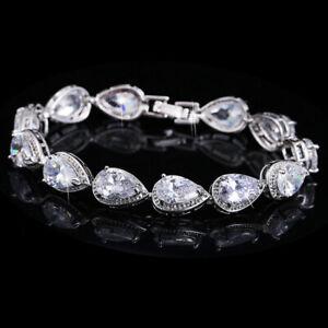 New Silver Chain Waterdrop Cut Shinny White Topaz Gemstone Women Gifts Bracelet