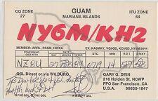 QSL CARD Amateur Radio 1989 GUAM Mariana Islands Gary Dein San Francisco