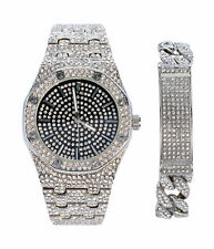 Men's Iced Out Silver Watch and Cuban Link ID Bracelet Gift Set