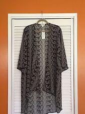 2X/1X Black White Duster Long Print KIMONO Jacket Blouse Top Plus 20/22/24