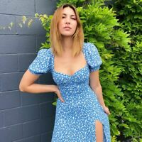 Summer Ditsy Floral Blue Milkmaid Midi Dress UK 10 Vintage Reformation Lacey