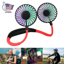 LED Portable Rechargeable Neckband Neck Hanging Dual Cooling Mini Fan Personal
