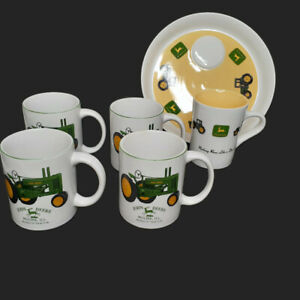 John Deere 2 Piece Snack Tray + 4 Coffee Cups Collectibles