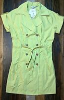 CAbi NWT Women's Trench Safari Jacket Belted Double Breasted Coat Green Sz L