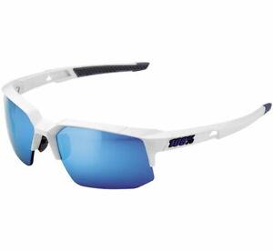 100% Matte White w/Blue HiPer Lens Speedcoupe Sunglasses 61031-000-75