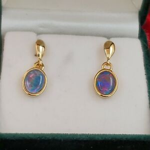 National Opal Collection Triplet Opal Pierced Earrings 925 Rhodium Plated NIB