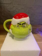 Dr.Seuss The Grinch Santa Ceramic Sculpted Mug Brand New! Sold Out In Stores !