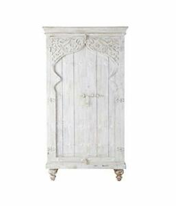 Handicraft Wood Cupboard Antique Finish White for Home Office Furniture