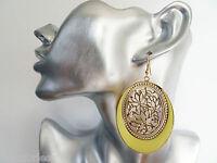 Gorgeous Yellow Enamel Look Gold Tone Oval Filigree Design Dangle Drop Earrings