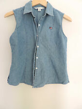Women's American Flag Jean Denim Vest Button Down Size Small