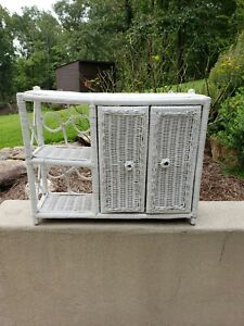 Vintage White Wicker Rattan Shelf With Doors