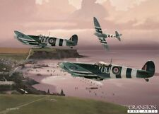 Aviation art post card Battle of Normandy D Day landing Spitfire Johnnie Houlton