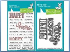 Lawn Fawn Photopolymer Clear Stamp & Die Combo ~ HAPPY HAPPY HAPPY ~LF1334,1335