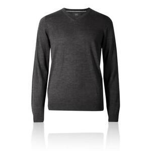 Marks&Spencer T303535M M&S Charcoal Extra Fine Merino Wool V Neck Jumper £35