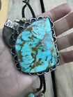 Roger Skeet Bolo Tie Turquoise Sterling Silver .925 Navajo Native American 110g