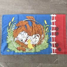 Dalmation Puppies Meadow Frog Baby Duck Duckling Standard Vintage Vtg Pillowcase