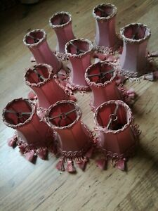 10 Vintage Dusty Pink Braided Tassell Clip On Table Wall Lamp Chandelier Shades
