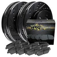 [FRONT+REAR KIT] Black Hart *DRILLED & SLOTTED* Brake Rotors +Ceramic Pads C1386