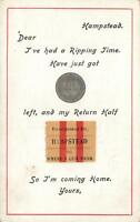 VINTAGE 1930's RIPPING TIME TICKET SIXPENCE POSTCARD - AJ CARTER POSTCARD