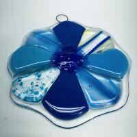 """Vintage 3"""" Fused Glass Suncatcher Flower Blue Teal Speckle"""