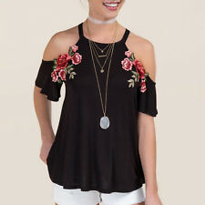 Summer Women's Hand Flowers Embroidery Cold Shoulder Strap Tops Blouse Shirts