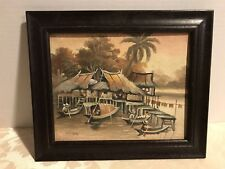 "Artist ""CHAO"" CHINESE Asian Original Oil Painting_River Dock w/Huts Sampan Boats"
