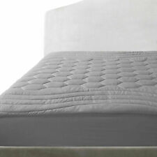 Quilted Grey Matress Pad Fitted Sheet Mattress Cover Hypoallergenic Deep Pockets
