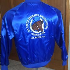 80's Vintage Blue Satin Jacket San Martin Horsemen By Satins M Medium