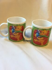 Disney Winnie the Pooh Set of 2 RARE mug cup w/ Tigger/Piglet by Houston Harvest