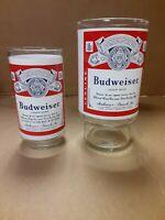 Vintage Budweiser Beer Drinking Glass 12oz & 32oz