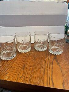 """4 – The Glenlivet Scotch Whiskey Rocks GLASSES – Etched, """"Von Pok, France"""" - NEW"""