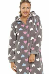 Camille Heart Print Supersoft Grey All In One / Lounger / Pyjama Set Nightwear