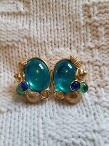 Vintage TRIFARI ~ KUNIO MATSUMOTO ~ Signed Seashell Earrings ~ Blue Clip On
