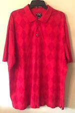 Alexander Julian Mens Colours Short Sleeve Red Argyle Polo Shirt, Size XXL RG175