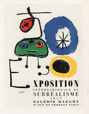 BOLD MIRO Antique Exposition Poster Exposition du Surrealisme SIGNED Framed COA