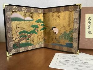 Traditional Beauty of Japan Mini Tabletop Folding Screen Japanese Artwork Boxed