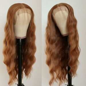 24inch Synthetic hair Glueless Lace front wigs  Full Head Long Wavy Curly Brown