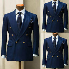 Blue Men's Suits Formal Slim Wedding Blazer Double-Breasted Prom Dinner Tuxedos